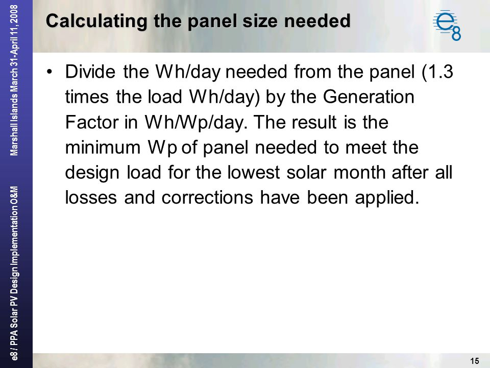 Calculating the panel size needed