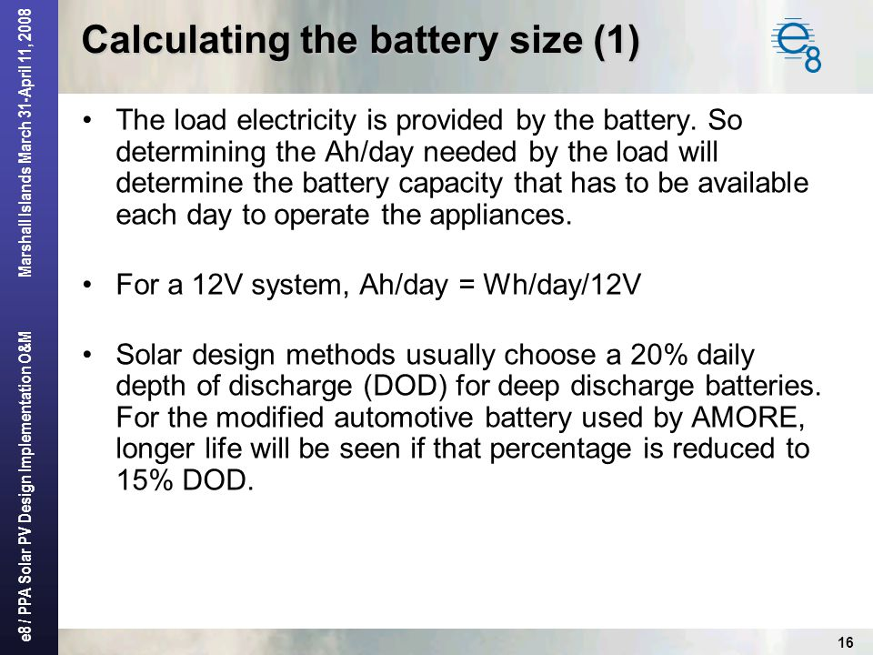Calculating the battery size (1)