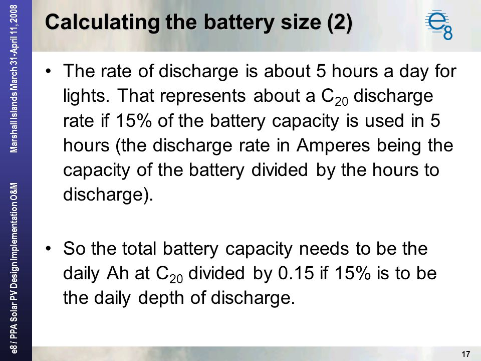 Calculating the battery size (2)