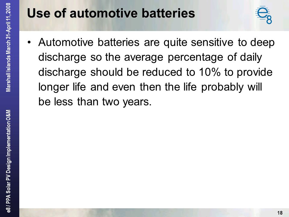 Use of automotive batteries
