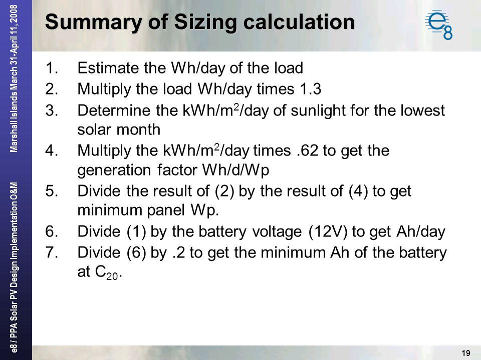 Summary of Sizing calculation