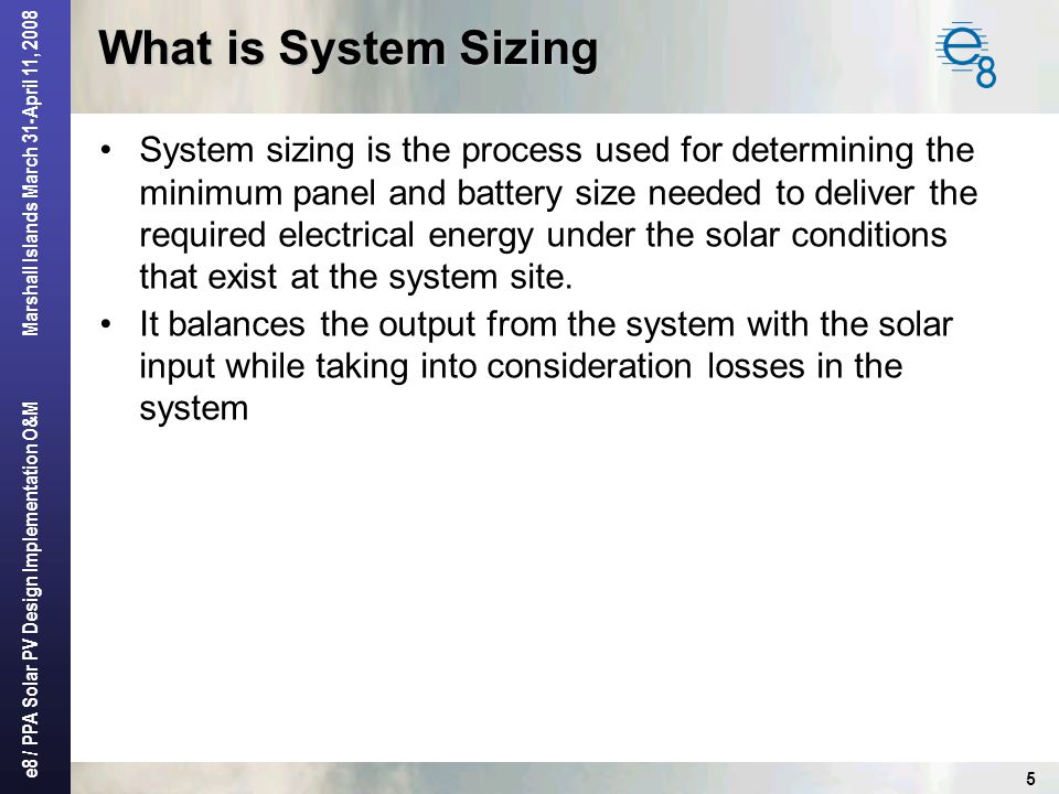 What is System Sizing