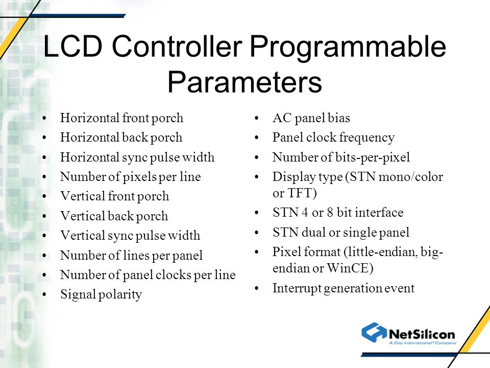 LCD Controller Programmable Parameters