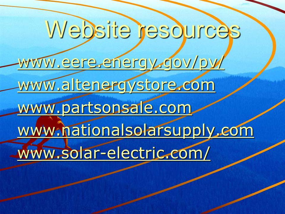 Website resources www.eere.energy.gov/pv/ www.altenergystore.com