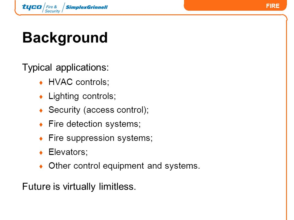 Background Typical applications: Future is virtually limitless.