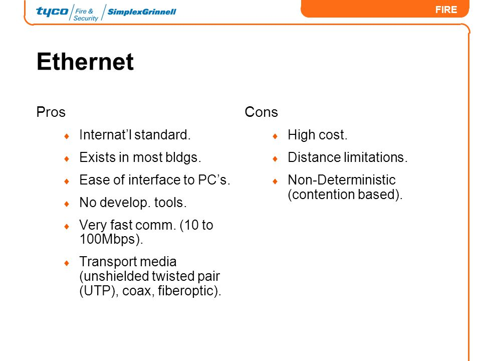 Ethernet Pros Cons Internat'l standard. Exists in most bldgs.