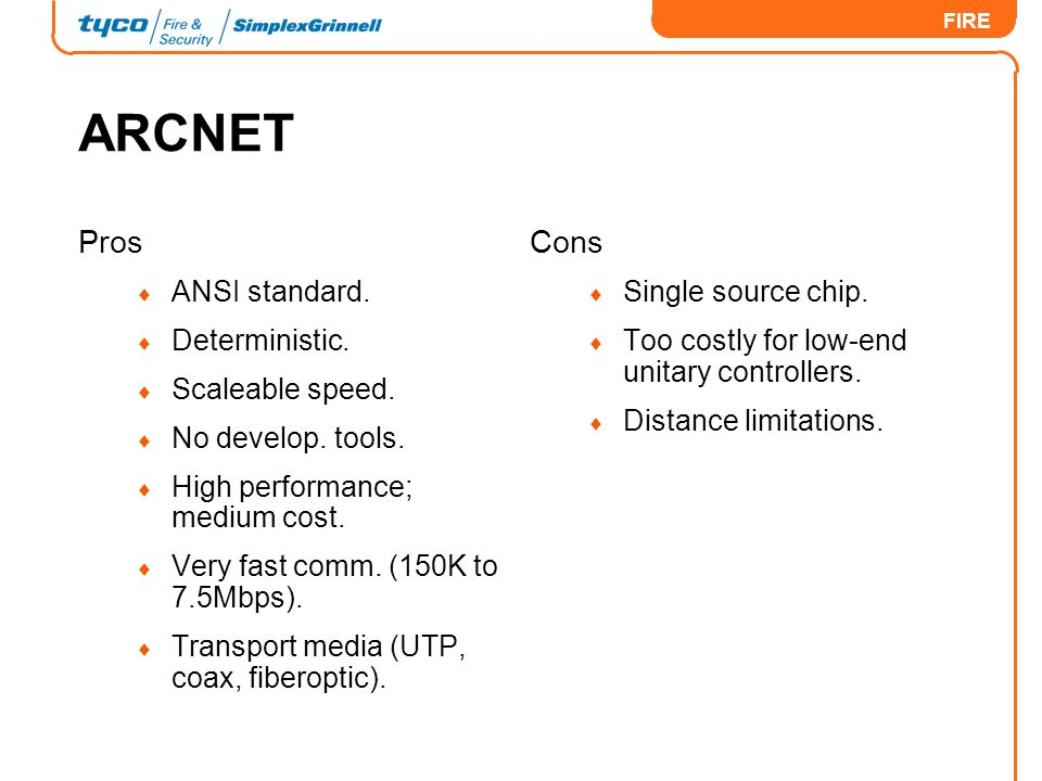 ARCNET Pros Cons ANSI standard. Deterministic. Scaleable speed.
