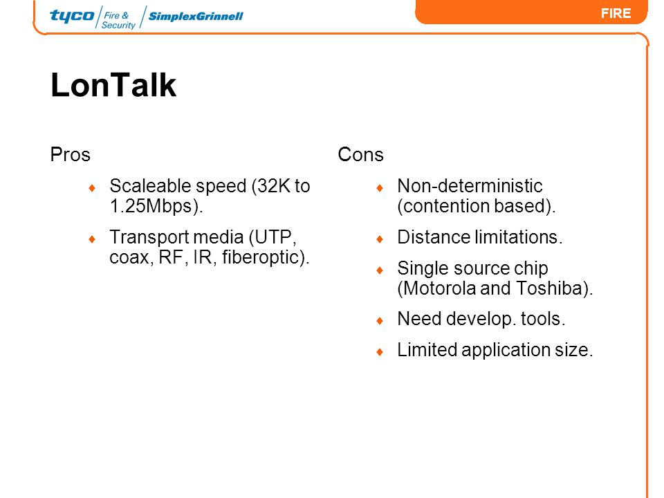 LonTalk Pros Cons Scaleable speed (32K to 1.25Mbps).