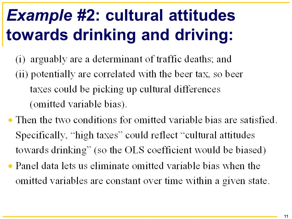 Example #2: cultural attitudes towards drinking and driving: