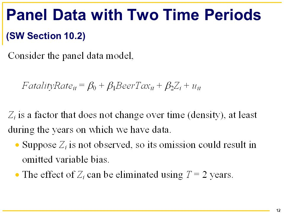 Panel Data with Two Time Periods (SW Section 10.2)