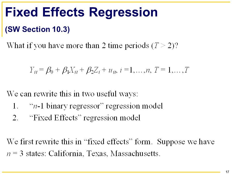 Fixed Effects Regression (SW Section 10.3)