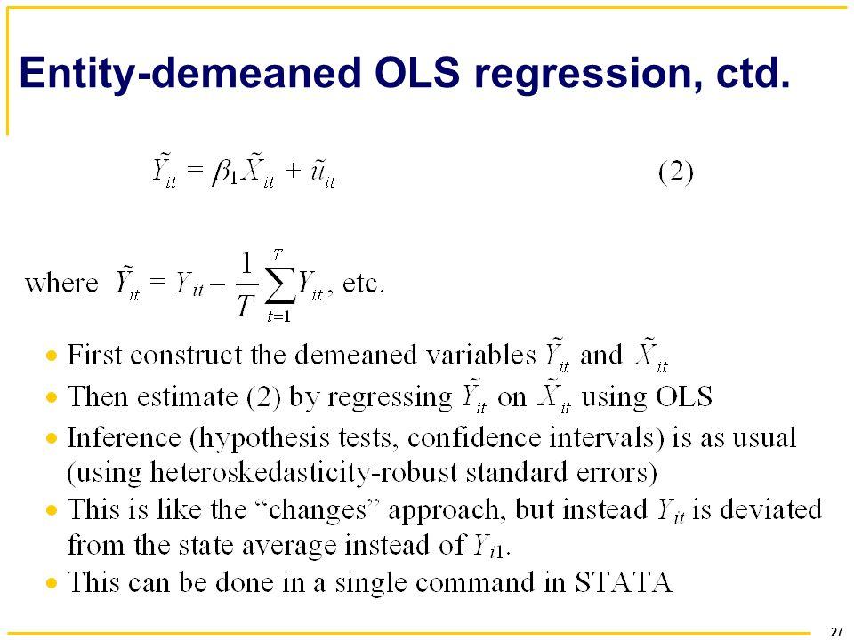 Entity-demeaned OLS regression, ctd.
