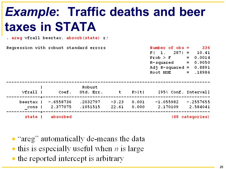 Example: Traffic deaths and beer taxes in STATA