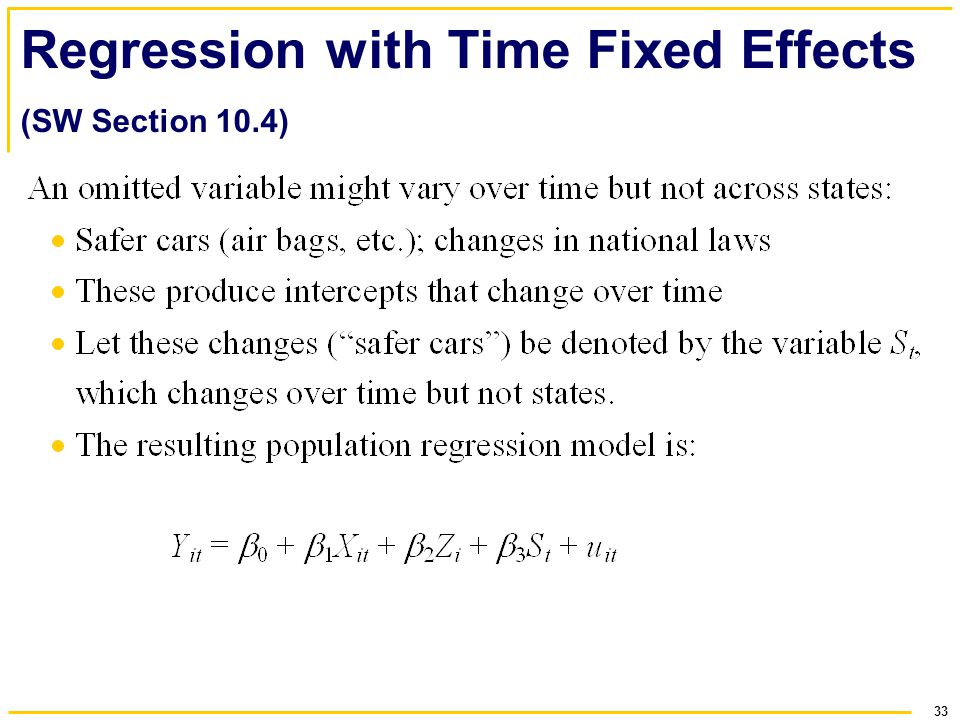 Regression with Time Fixed Effects (SW Section 10.4)