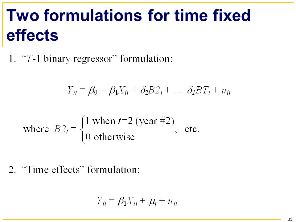 Two formulations for time fixed effects