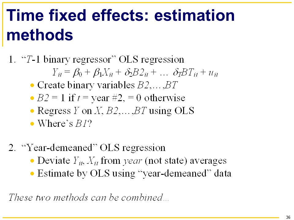 Time fixed effects: estimation methods