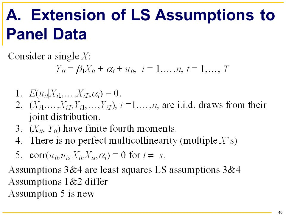 A. Extension of LS Assumptions to Panel Data