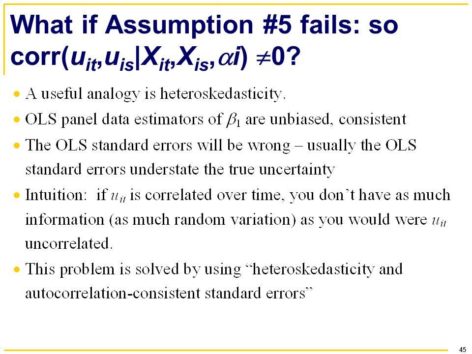 What if Assumption #5 fails: so corr(uit,uis|Xit,Xis,i) 0