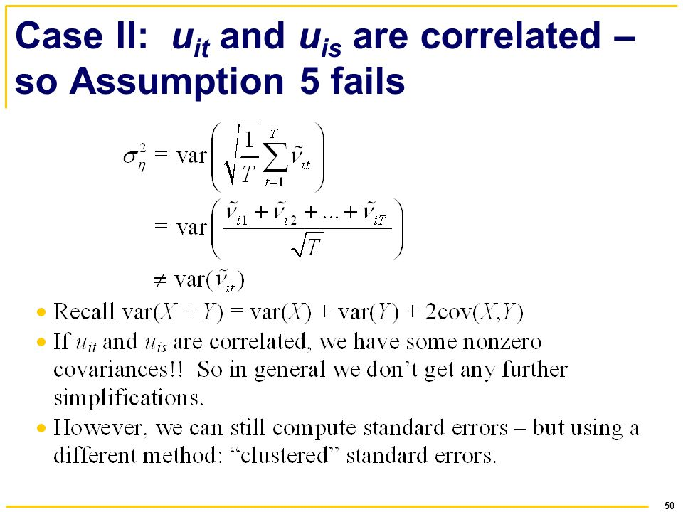 Case II: uit and uis are correlated – so Assumption 5 fails