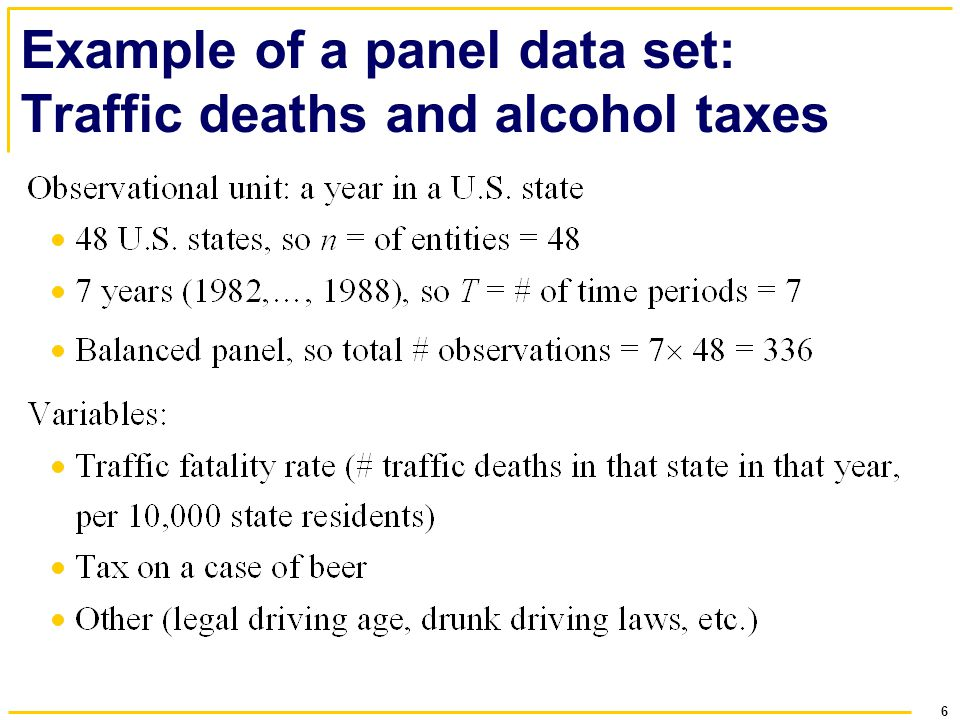 Example of a panel data set: Traffic deaths and alcohol taxes