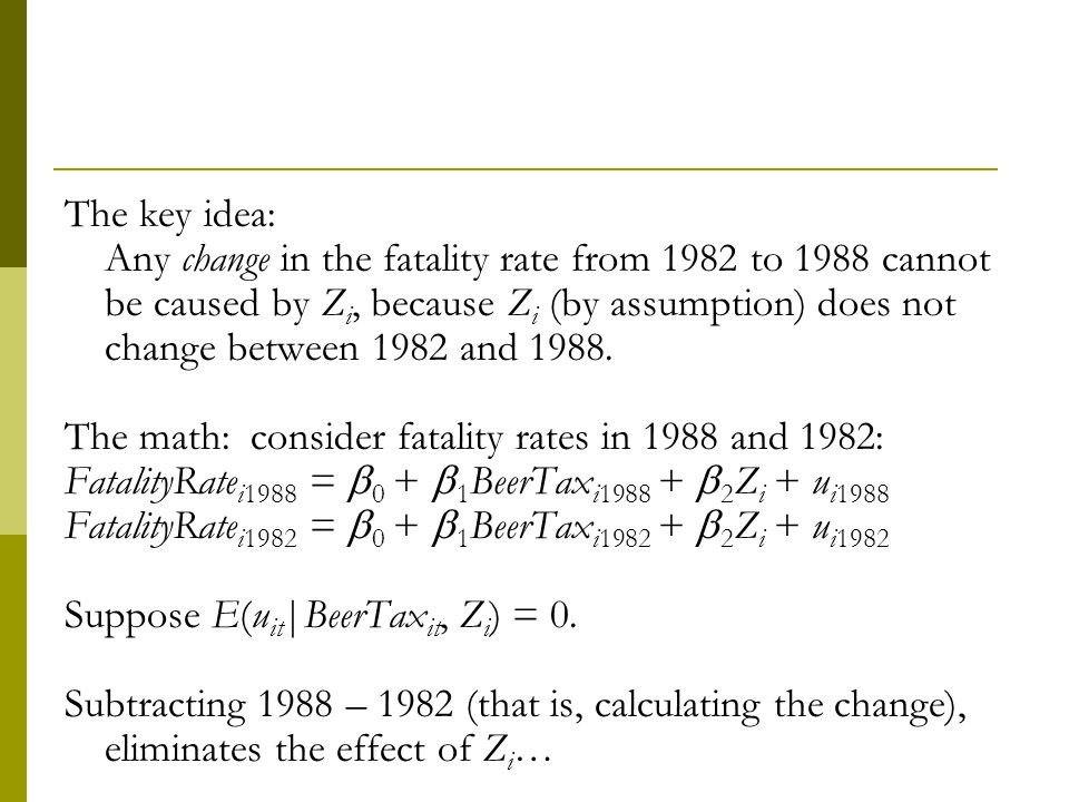 The key idea: Any change in the fatality rate from 1982 to 1988 cannot be caused by Zi, because Zi (by assumption) does not change between 1982 and 1988.