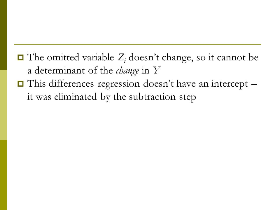 The omitted variable Zi doesn't change, so it cannot be a determinant of the change in Y
