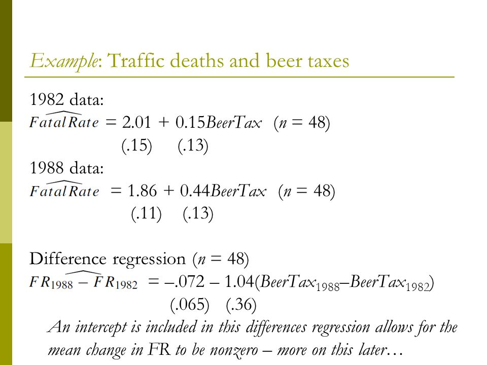 Example: Traffic deaths and beer taxes