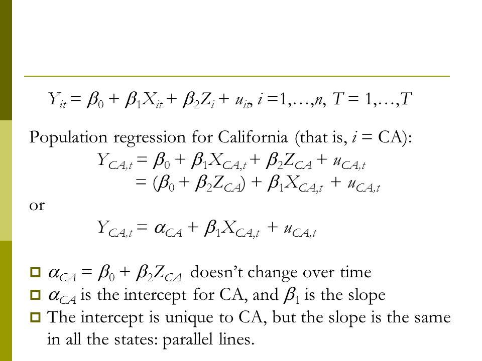 Yit = 0 + 1Xit + 2Zi + uit, i =1,…,n, T = 1,…,T