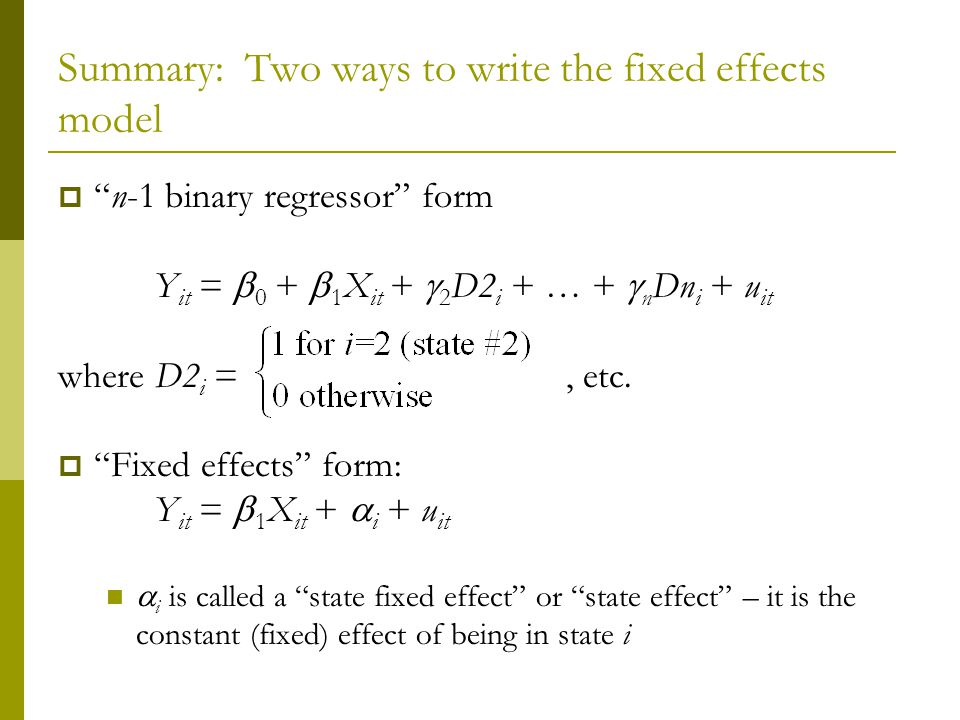 Summary: Two ways to write the fixed effects model