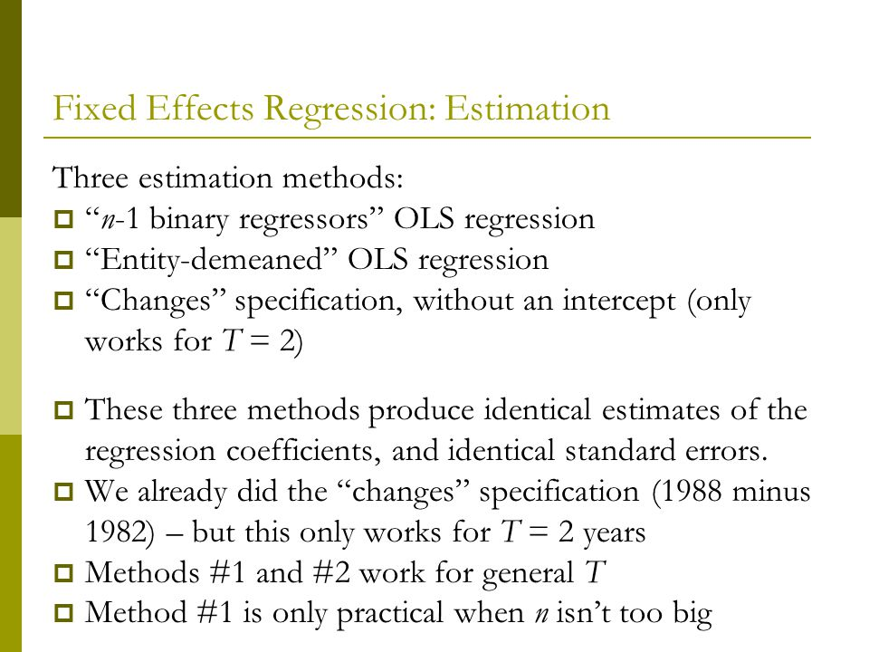 Fixed Effects Regression: Estimation