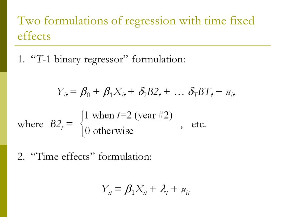 Two formulations of regression with time fixed effects