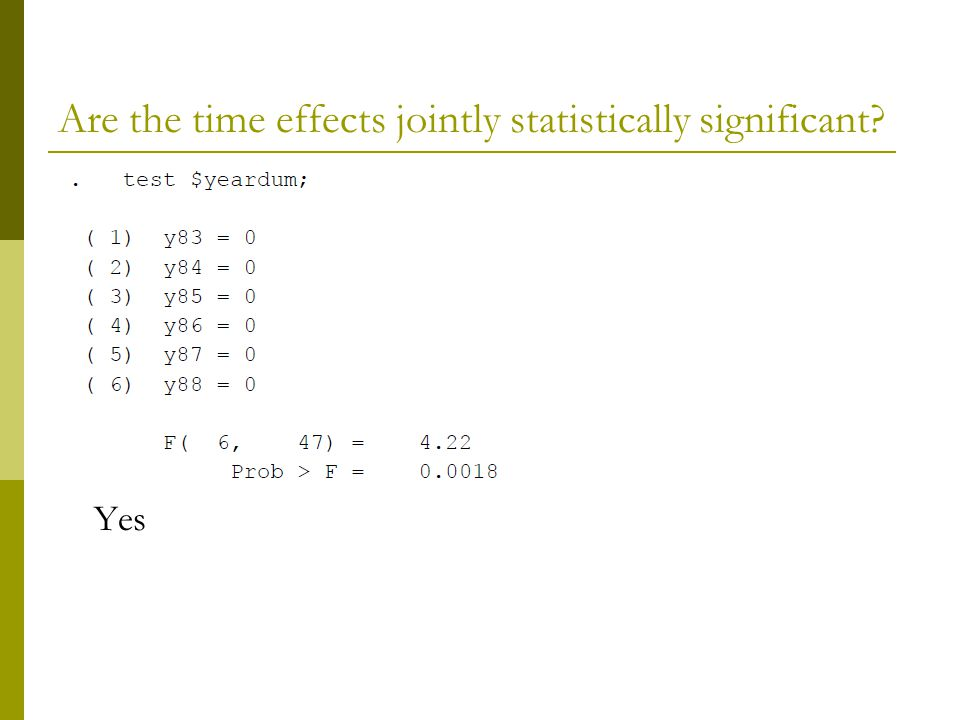 Are the time effects jointly statistically significant