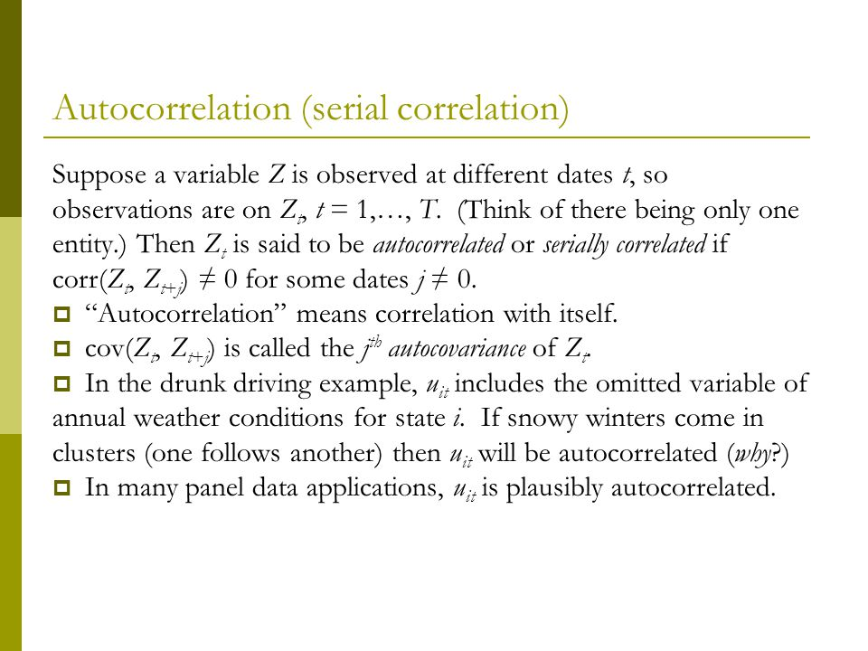 Autocorrelation (serial correlation)