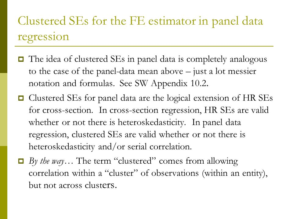 Clustered SEs for the FE estimator in panel data regression