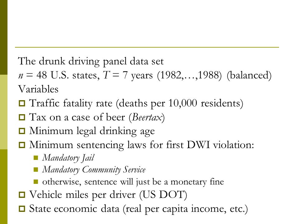 The drunk driving panel data set