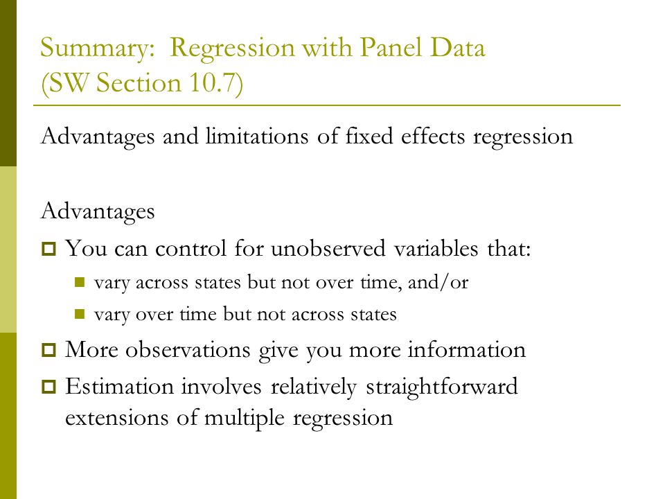 Summary: Regression with Panel Data (SW Section 10.7)