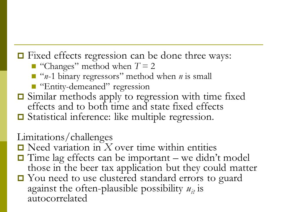 Fixed effects regression can be done three ways: