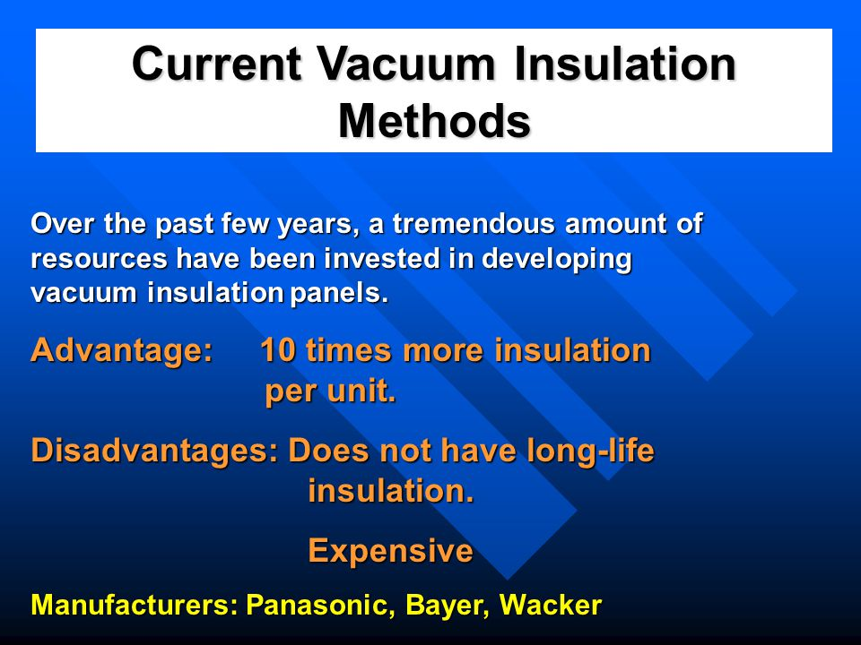Current Vacuum Insulation Methods