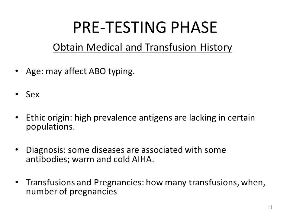 Obtain Medical and Transfusion History