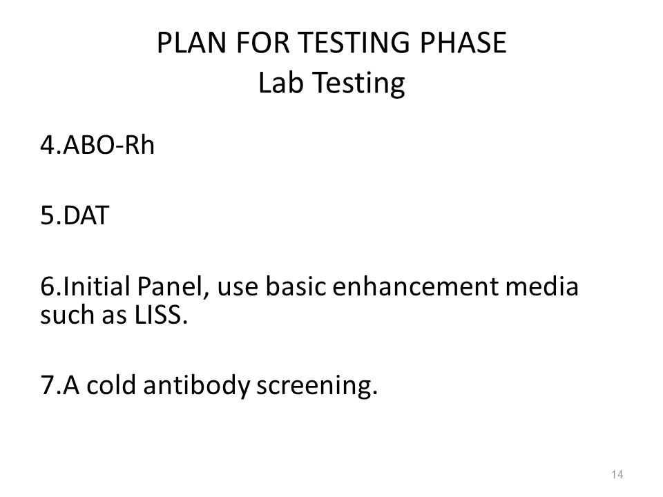 PLAN FOR TESTING PHASE Lab Testing