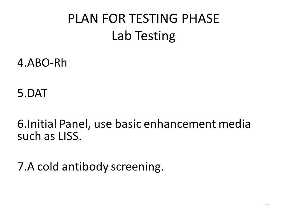 PLAN FOR TESTING PHASE Lab Testing