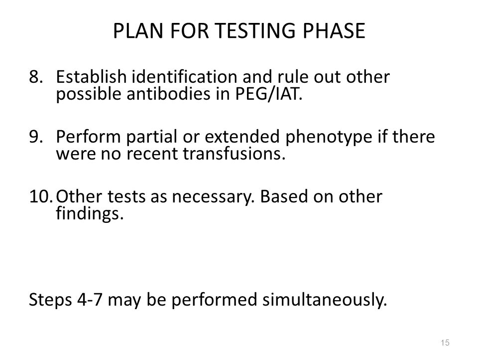 PLAN FOR TESTING PHASE Establish identification and rule out other possible antibodies in PEG/IAT.