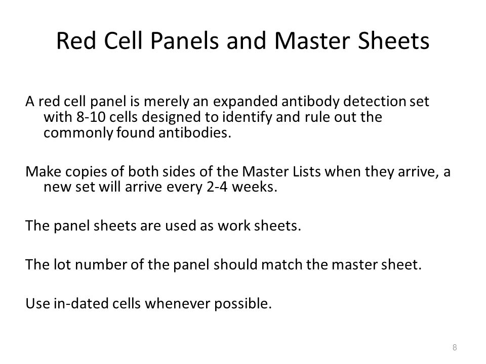 Red Cell Panels and Master Sheets