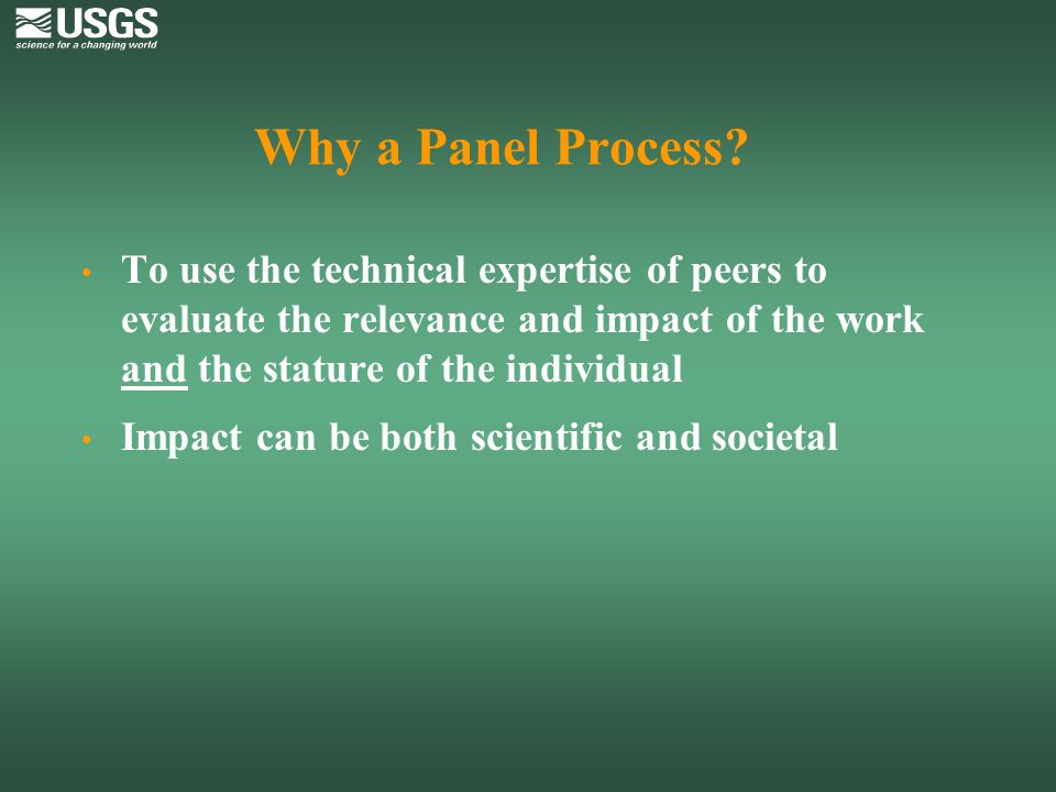Why a Panel Process To use the technical expertise of peers to evaluate the relevance and impact of the work and the stature of the individual.