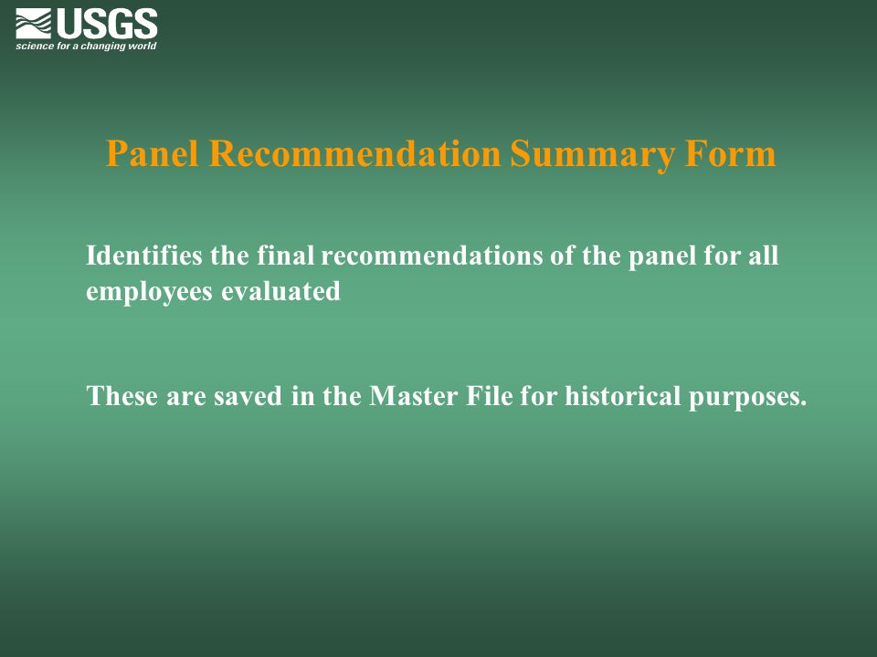 Panel Recommendation Summary Form