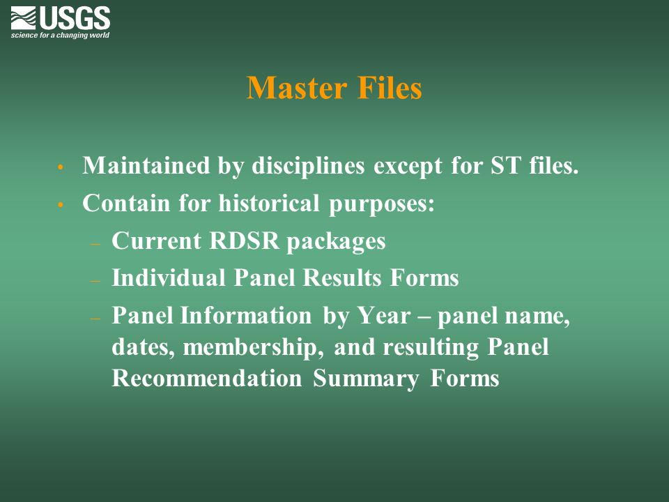 Master Files Maintained by disciplines except for ST files.