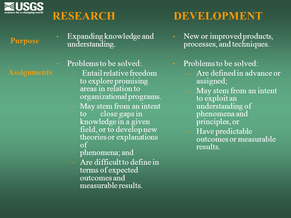 RESEARCH DEVELOPMENT Expanding knowledge and understanding.