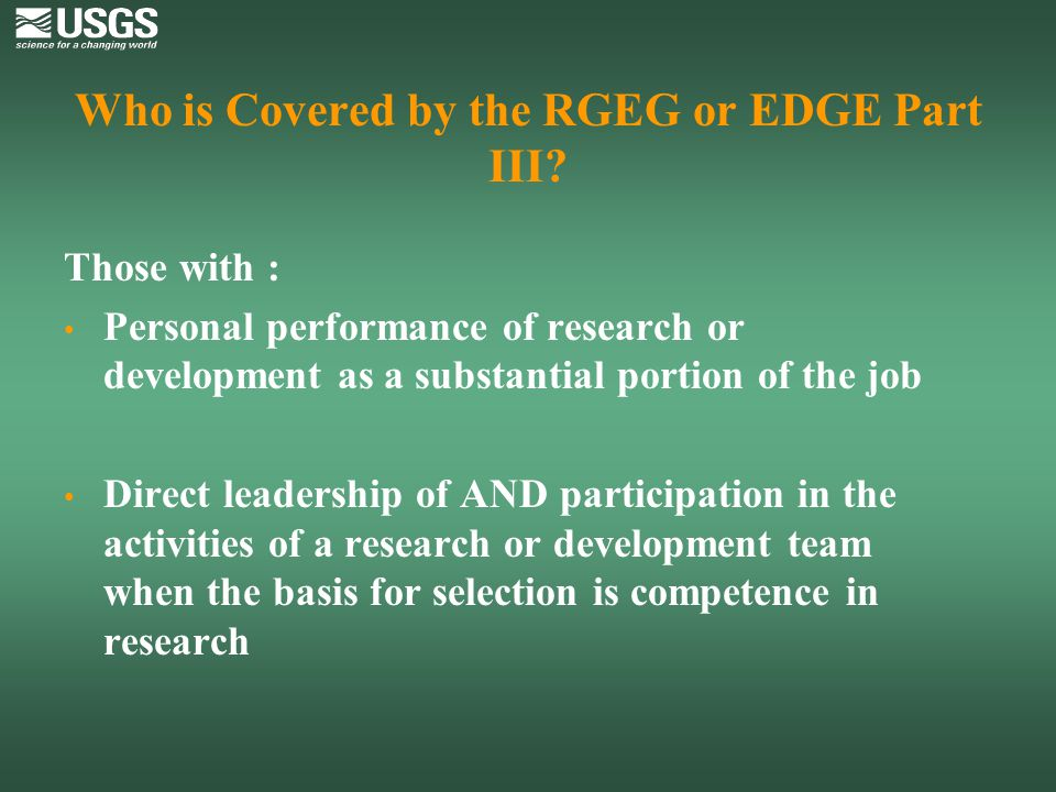 Who is Covered by the RGEG or EDGE Part III