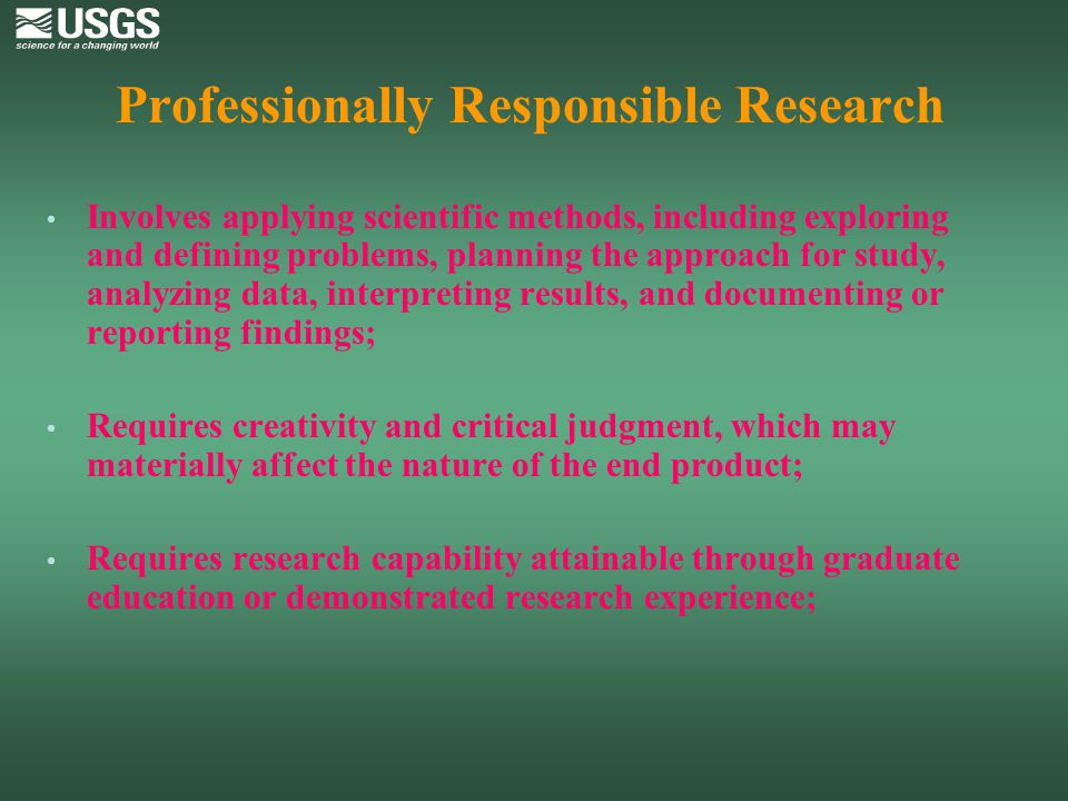 Professionally Responsible Research