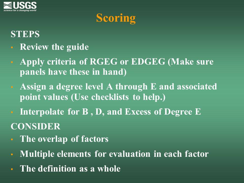 Scoring STEPS Review the guide